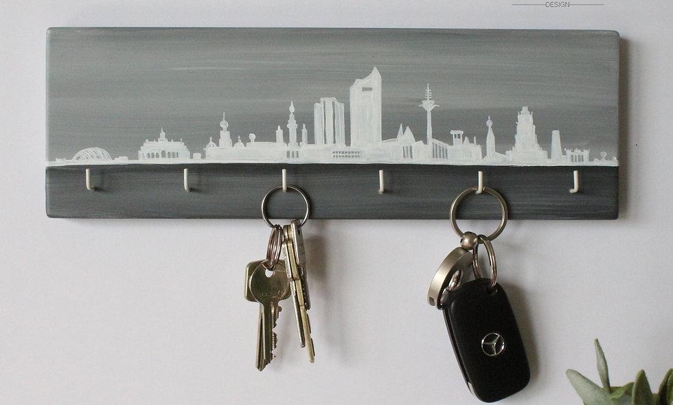 Schlüsselbrett Skyline Leipzig