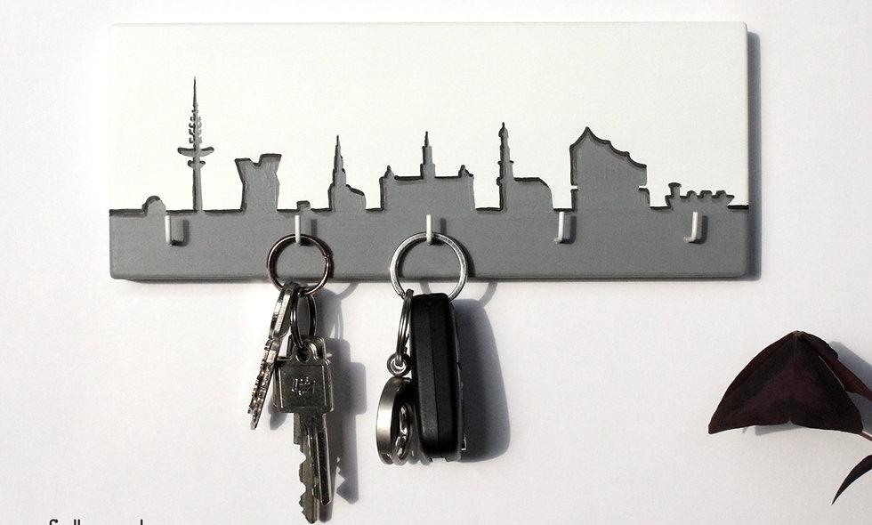 Schlüsselbrett Skyline Hamburg 3d Optik
