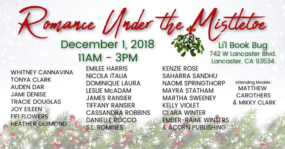 Romance Under the Mistletoe event on December 1st in Lancaster, CA