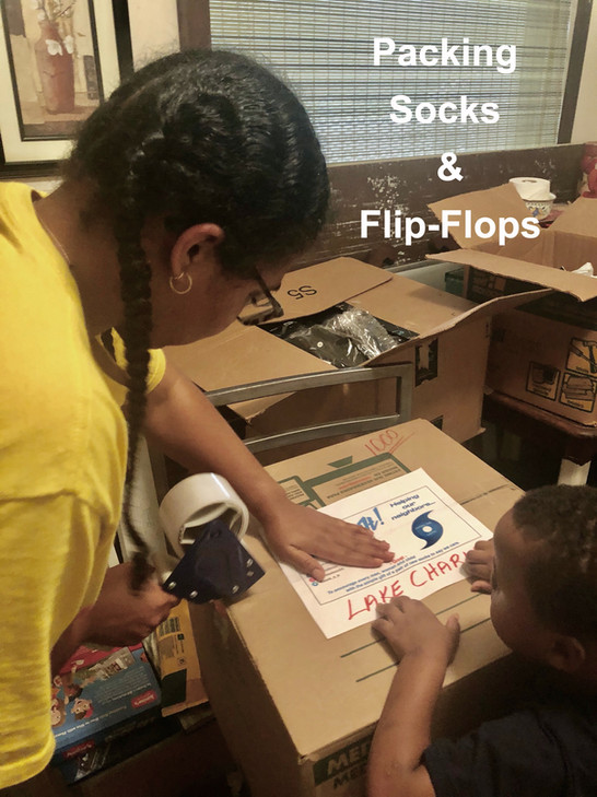 Socks & Flipflops packed for delivey after Hurricane Laura & Hurricane Zeta