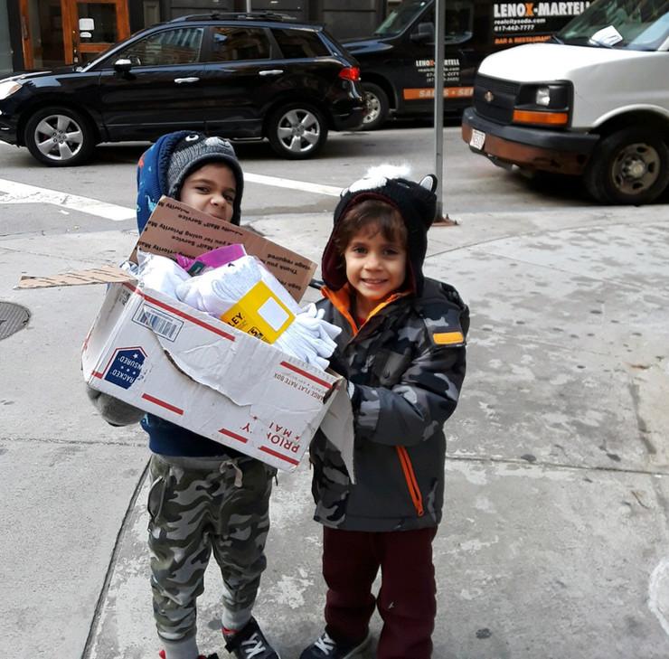 Delivering socks in Boston to men's shelter