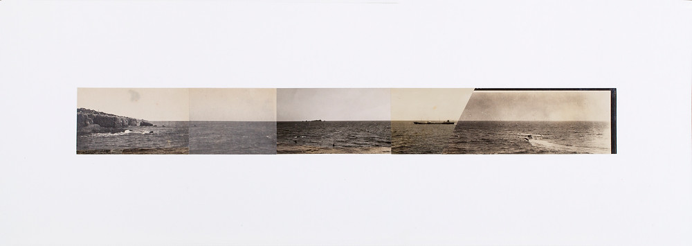 FREEWHEELING TRIP (THE MOMENT THE SEA SURFACE WAS RIPPED) 逍遙遊 (劃破海面的瞬間), 2017 Old photos collage 老照片拼貼 22 x 62 cm