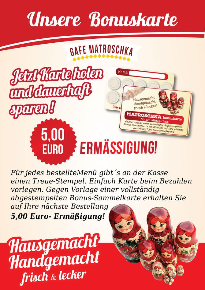 Jetzt Karte holen und dauerhaft  sparen! 5 Euro Ermäßigung!