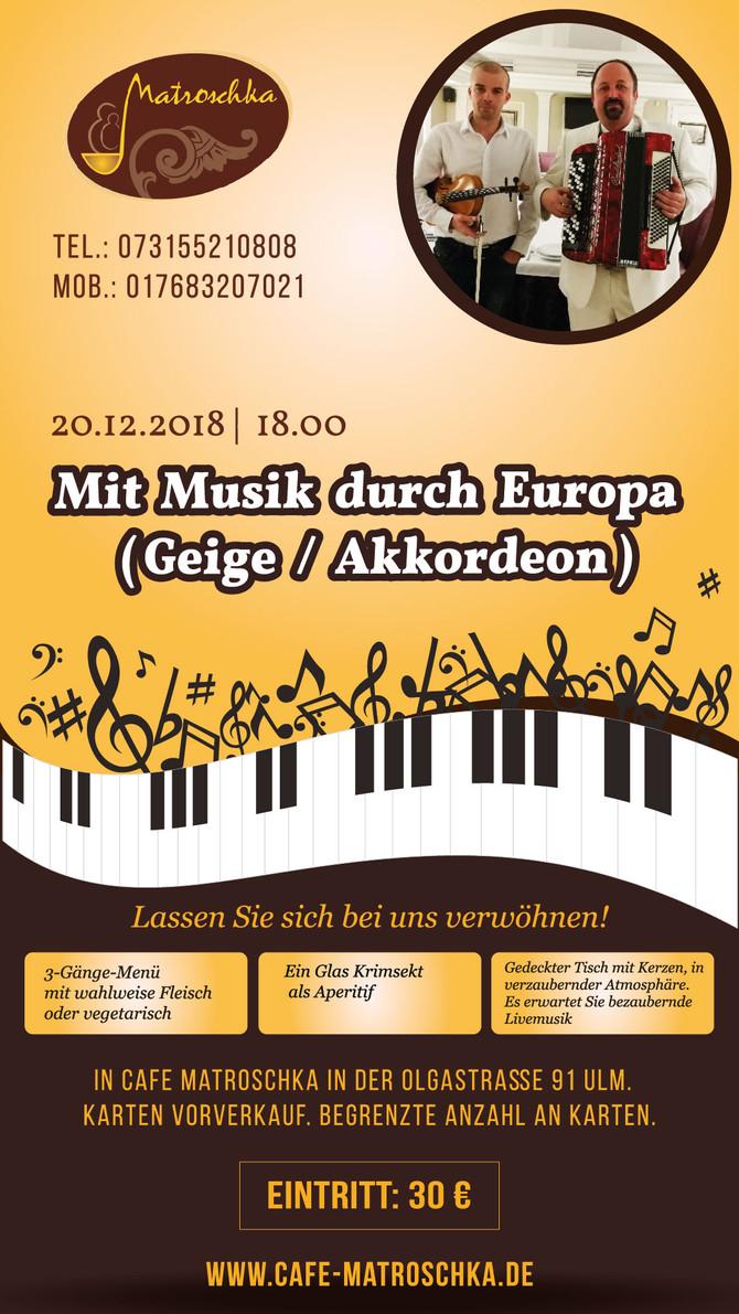 Mit Musik durch Europa (Geige und Akkordeon)