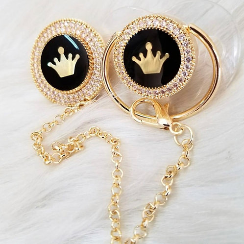 Golden Crown pacifier and clip
