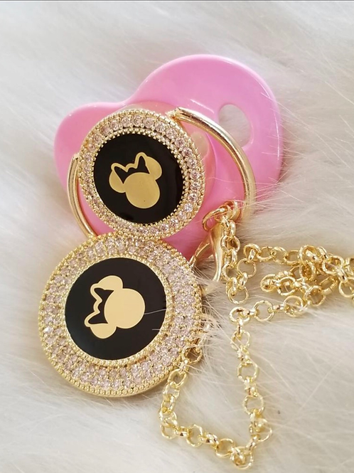 Mickey&Minnie Mouse pacifier and clip