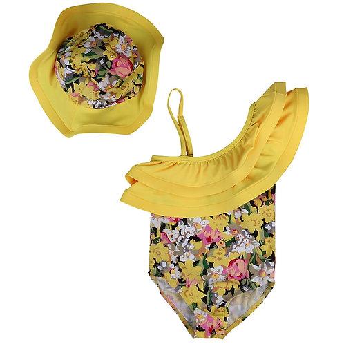 Yellow Floral Printed Swimwear Jumper Jumpsuit+Hat