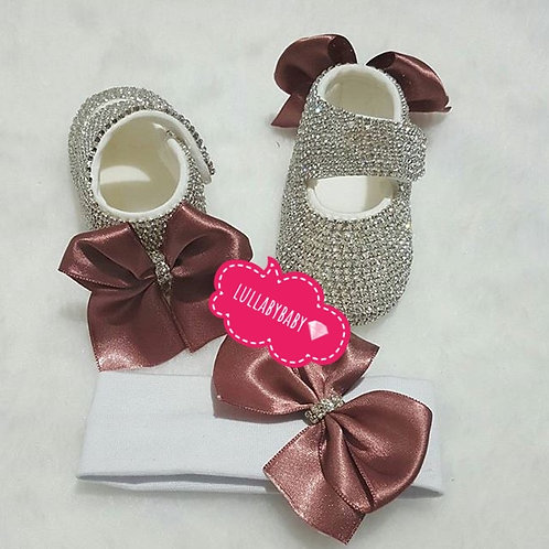 Backside bow swarovski shoes