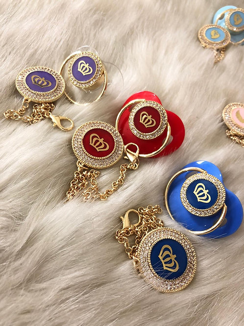 Colorful Royal crown pacifier and clip