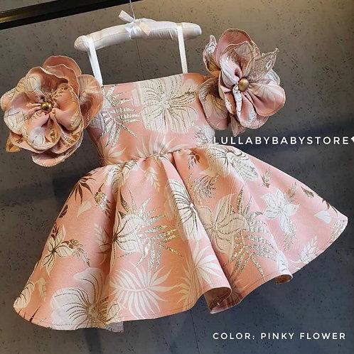 Alicia- Shoulder Flower Dress
