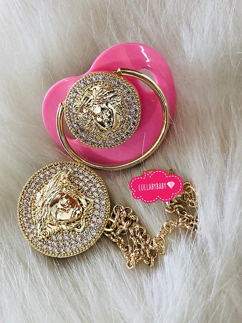 Luxury Glam pacifier and clip
