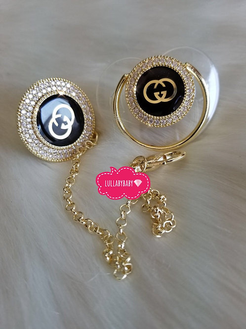 Luxury gucci pacifier and clip