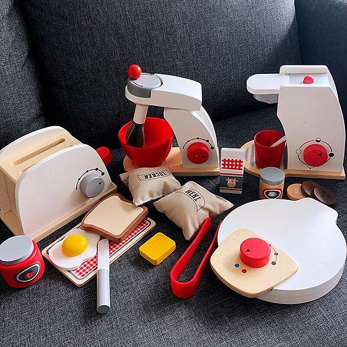 Wooden Kitchen Toy Wooden Coffee Machine Toaster Icecream Machine Food Mixer