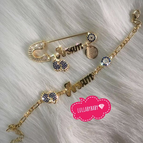 Silver covered Gold Pin & bracelet