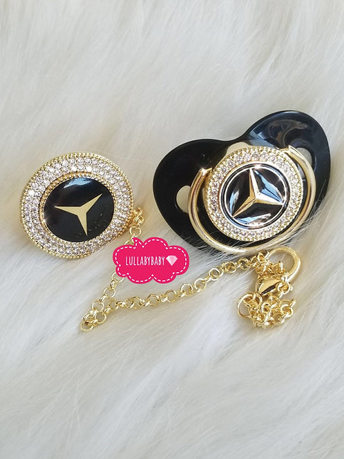 Luxury Mercedes pacifier and clip