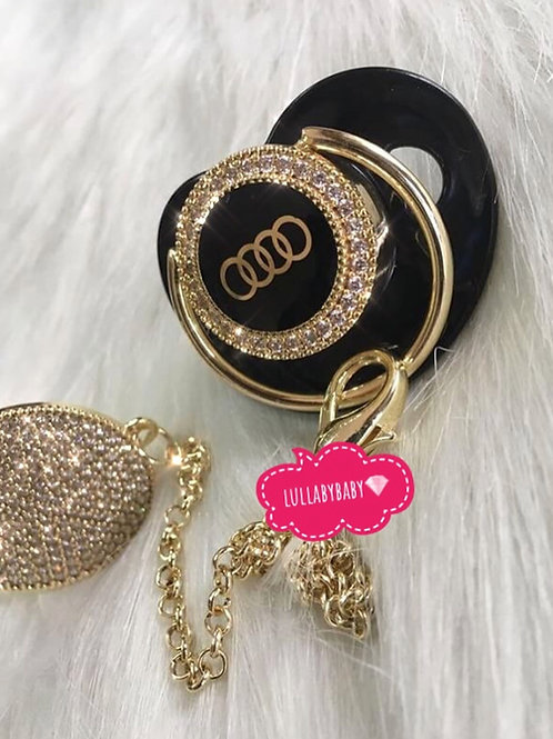 Luxury Audi pacifier and clip