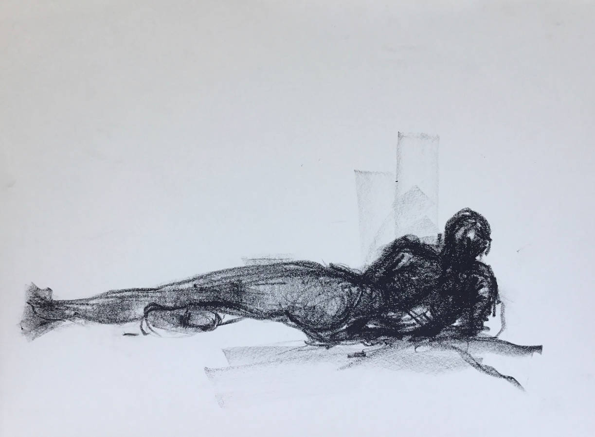 Reclining Male in Litho Crayon.