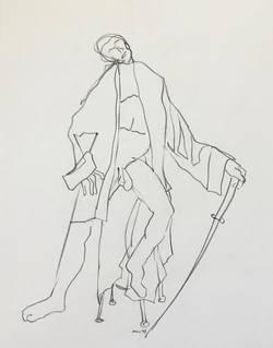 Man in Coat with Sword.