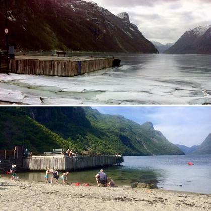 Vinter / Sommer ved Frafjordkaien