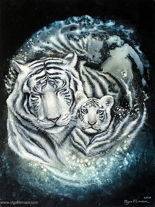 "Original Paining""White Tiger"""