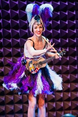 Amy G feathers and ukulele