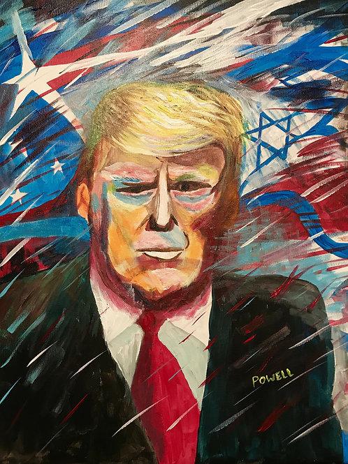 President Trump America/Israel Painting in Print