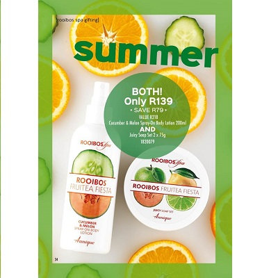 Cucumber & Melon Spray-On Body Lotion 200ml AND Juicy Soap Set 2 x 75g