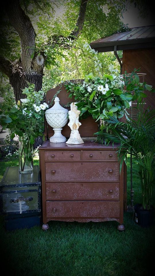 Vintage Dresser & Garden Vignette