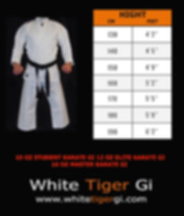 Karate uniform size in cm and feet
