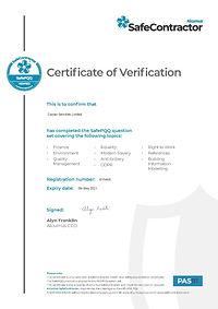 CERT026 SAFE CONTRACTOR PQQ CERTIFICATIO