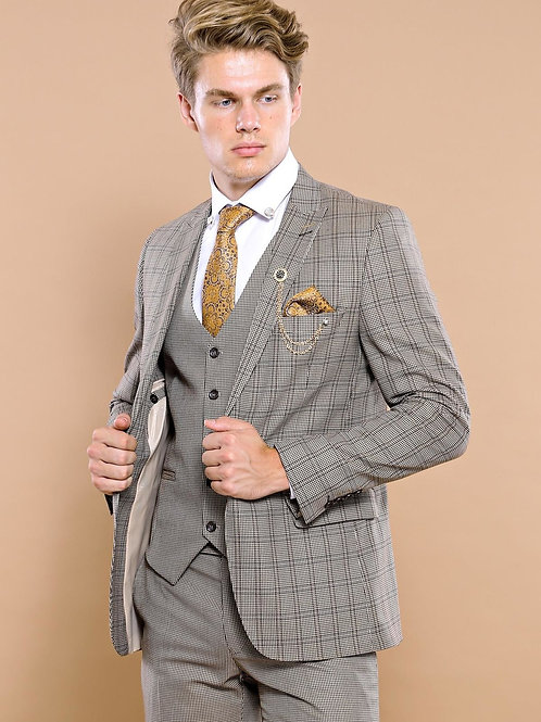 Checked Brown Vested Men's Suit