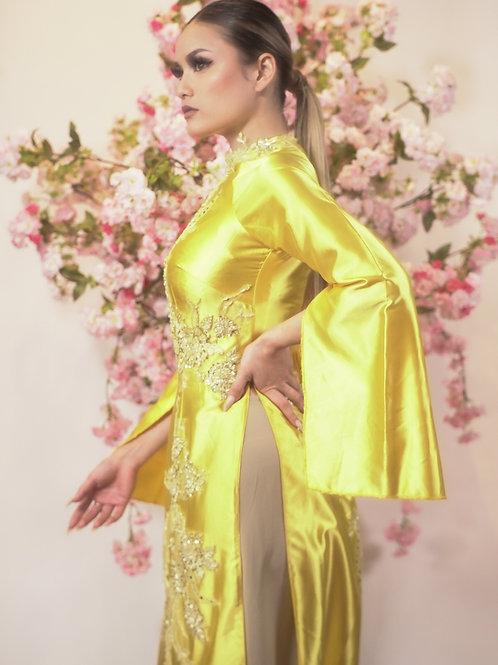 Yellow Split sleeve Ao Dai