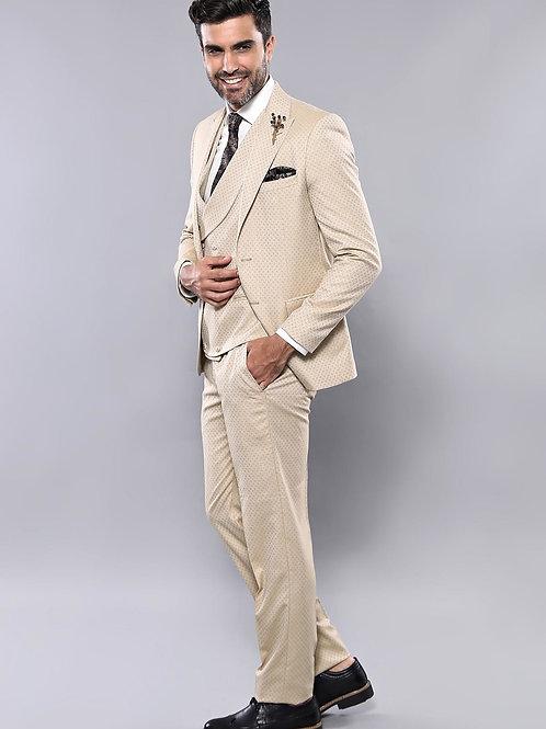 Patterned Beige Vested Suit