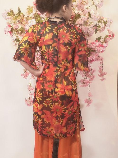 Sunflower Print Flared Sleeve Ao Dai