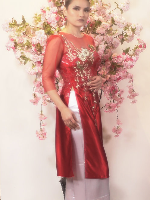 Red Ao Dai with Gold Applique