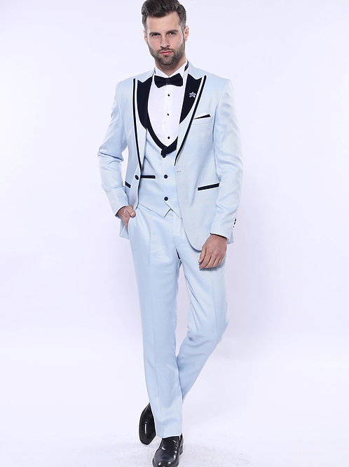 Patterned Velvet Lapel Sky Blue Tuxedo