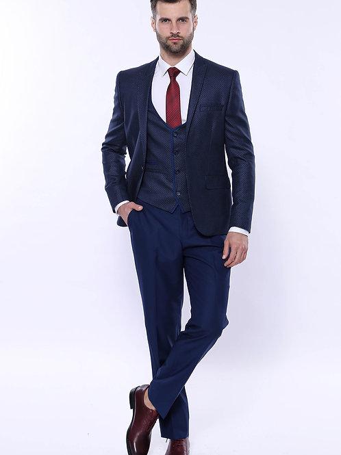 Dot-Patterned Vested Suit