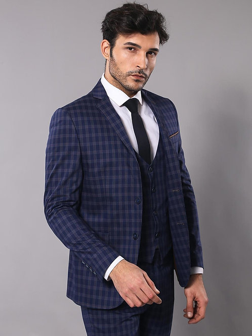 Navy Blue Vested Plaid Suit