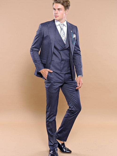 Patterned Dark Blue Vested Men's Suit