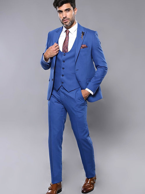 Patterned Blue Vested Men's Suit