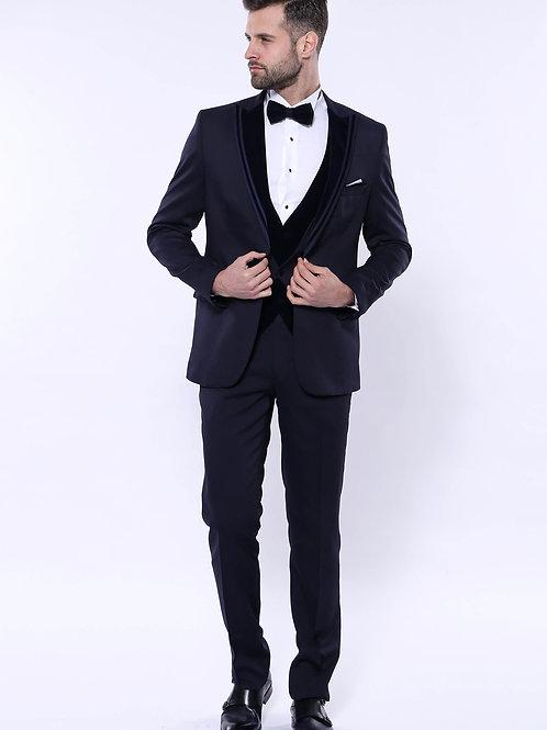 Velvet Collar Patterned Dark Blue Tuxedo