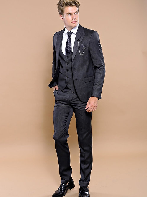 Dark Grey Striped Vested Suit