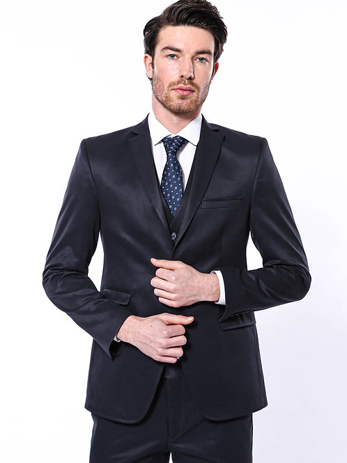Vested Navy Blue Slim-Fit Suit