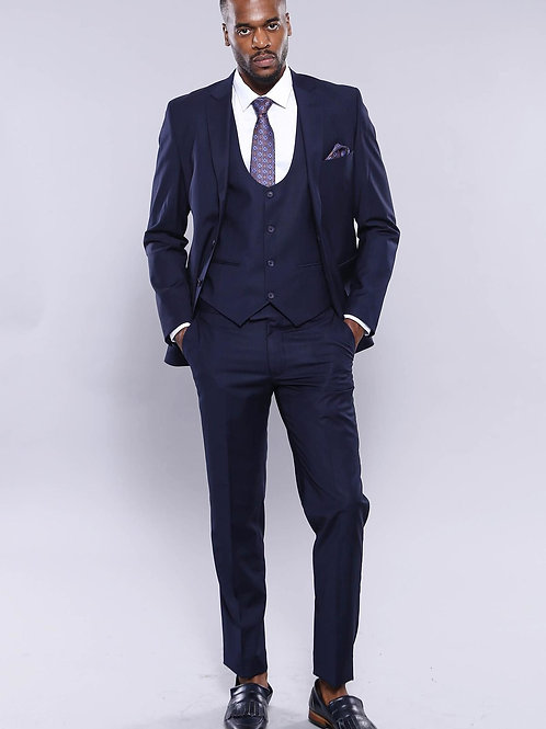 Double Breasted Slim Fit Navy Blue Suit