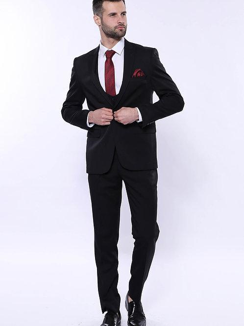 Patterned Black Vested Suit