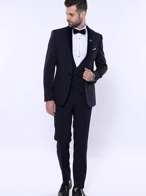 Detachable Velvet Lapel Navy Tuxedo