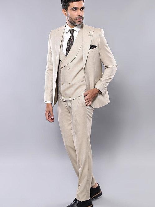 Patterned Beige Suit