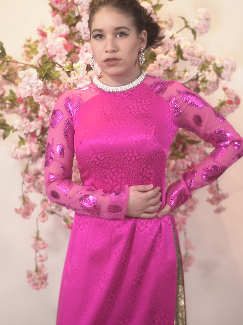 Pink AO DAI with metallic sleeve