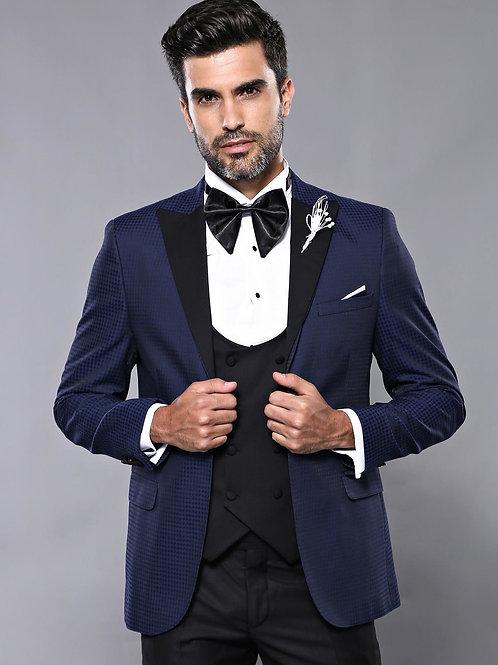Patterned Jacket Navy Blue Tuxedo