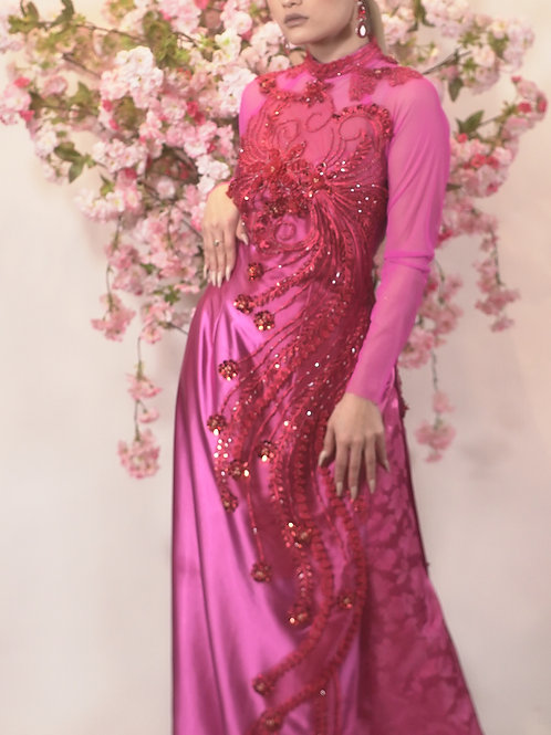 Pink Phoenix Ao Dai